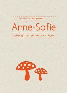 Hip #geboortekaartje op #karton Anne-Sofie | #paddenstoel op karton #herfst #letterpers #letterpresse