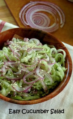 Cucumber and Red Onion Salad - A Super Easy Side Dish or Snack! #lowcalorie #glutenfree #vegan