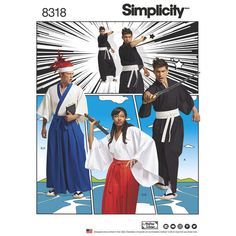 Simplicity Pattern 8318 Misses', Men's and Teen's Kimono Costumes