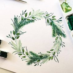 Likes, 40 Comments - Illustration Sharing Page ( on Instag. Likes, 40 Wreath Watercolor, Watercolor Cards, Watercolor Flowers, Watercolor Paintings, Watercolours, Wreath Drawing, Painting & Drawing, Illustration Blume, Instagram Artist