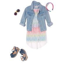 Spring styles that my daughter loves.  The denim jacket over a cute dress or spring top.