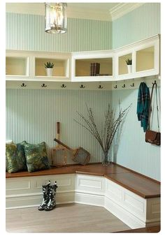 Corner bench mudroom