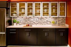Contemporary kitchen design with sleek cabinets and a tile backsplash. Discovered on www.Porch.com #cool #backsplash