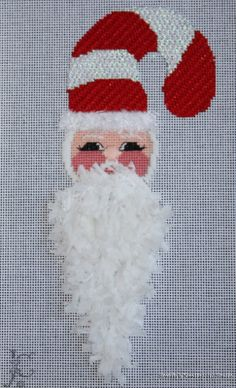Candy Cane Santa Ornament   Brenda's Needlepoint Studio