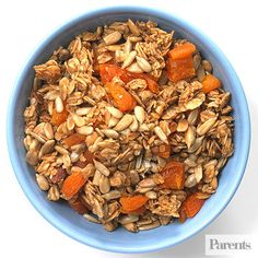 Low-fat granola + sunflower seeds + dried apricots