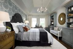 Candice Olson bedroom remodel: love this idea--the colors, the accent wallpaper wall, etc.