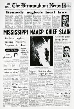 June 12, 1963: Civil rights leader and organizer Medgar Evers was fatally shot in his driveway in Jackson, Miss.