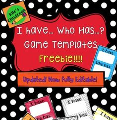 i have who has template learning games for kids new teachers