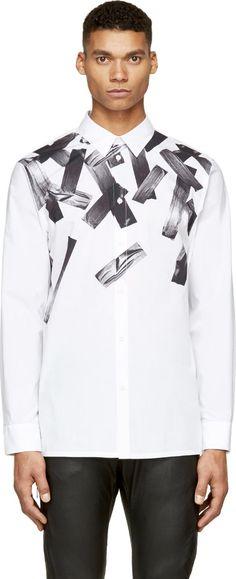 Helmut Lang: White Cascading Tape Print Shirt | SSENSE