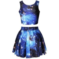 awesome Pink Queen 2 Piece Crop Tank Top Tees and Flare Skirt Set, Blue Galaxy Print, OS,Blue Galaxy Girls Fashion Clothes, Girl Fashion, Fashion Outfits, Fashion Women, Crop Top Outfits, Skirt Outfits, Halloween Costumes For Teens Girls, Halloween Outfits, Galaxy Outfit