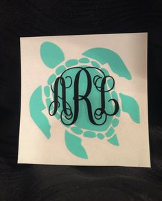 Sea Turtle with Monogram Decal for yeti cup, tumbler, coffee mug, wine glass, car window, laptop, cell phone/tablet case, boat, ice chest by AmandasDesigns05 on Etsy https://www.etsy.com/listing/270489648/sea-turtle-with-monogram-decal-for-yeti