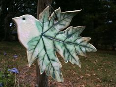 Maple leaf pottery birds by SilverPoplar on Etsy, $15.00