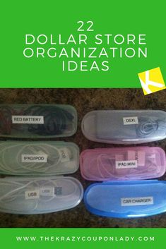 22 Ingenious Dollar Store Organization Ideas The dollar store is a mecca for cheap DIY household organization! Check out these ingenious ideas and be prepared to head to the closest dollar store for organization solutions for your bedroom, b. Organisation Hacks, Office Organization, Organization Ideas For The Home, Charger Organization, Minivan Organization, Organization Station, Clutter Organization, Paper Organization, Dollar Tree Organization