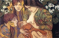 Motherhood (1905) by Stanisław Wyspiański  - Wyspiański roots himself in the world of Art Nouveau, flowers and flower-led motifs are everywhere, whether as forming complexity within the background of pieces, or as patterned motifs on costumes and outfits. But this is only part of Wyspiański's work, he also cleverly manages to weave in a starkly modern approach, particularly to portraiture (The Textile Blog)