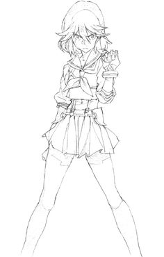 1girl clenched_hand gloves kill_la_kill matoi_ryuuko midriff official_art production_art school_uniform senketsu serafuku short_hair sketch skirt solo standing suspenders