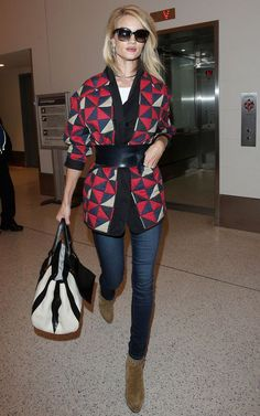 Rosie Huntington Street Style Not exactly fan of pattern or wide belt but I like the idea of belted comfy sweater to make chic outfit