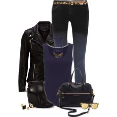 """Navy, Black, and Leopard"" by kswirsding on Polyvore"