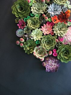 "simply-divine-creation: ""Succulent vertical garden felt plants >>Miasole on Etsy "" Felt Succulents, Colorful Succulents, Planting Succulents, Planting Flowers, Bloom, Felt Flowers, Beautiful Flowers, Flora Flowers, Fabric Flowers"