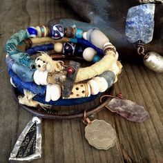Gypsy bangle stack in shades of blue with raw blue by quisnam, $60.00