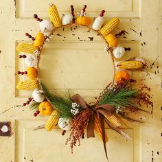 Gourds and Corn Fall Wreath- Like the idea of using dried corn ears!