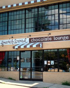 french broad chocolate lounge in asheville, nc  Crazy busy the night we went - line stretched half way up the block out the door.  Ordering was fast and it was hard to see the display case until after you've ordered.  It smelled great and clearly is a favorite with locals too but I'd have to go back when it's not so busy.  Got a nibs brownie and 2 truffles togo.