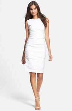 Nicole Miller Stretch Linen Sheath Dress available at #Nordstrom