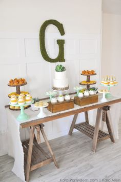 Dessert table at a Bee Baptized | Bee themed baptism birthday party by Kara Allen | with succulent accents! Kara's Party Ideas | KarasPartyIdeas.com Baby shower ideas, too!-87