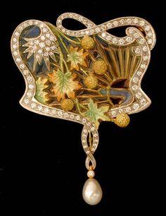 Masriera Enameled Gold Pendant/Brooch