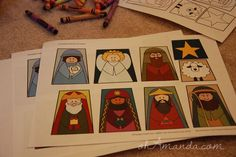 "Printable Nativity Finger Puppets (Oh Amanda/Hart of the Mountain) So cute! Made these for our World Vision child...a great ""flat"" gift to send!"
