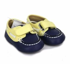 Janie-and-Jack-Boys-Velcro-Boat-Shoes-Blue-and-Yellow-With-White-Trim-Size-1