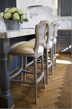How stunning are these Aidan Gray Chelsea barstools? They complete this French Country kitchen! The floor, the counters, the colors.you can't help but feel inspired by all of it! Wood Kitchen Cabinets, Grey Cabinets, Kitchen Island, Hamptons Style Homes, The Hamptons, Hamptons Kitchen, Metal Chairs, Blue Chairs, High Chairs