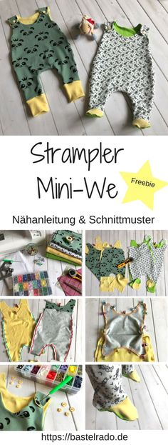 Nähanleitung für den Mini-We Strampler inkl. Schnittmuster Baby Dress, Sewing Patterns, Tutorials, Baby Gown, Baby Dresses