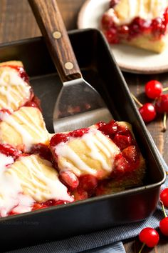 Want an easier way to serve cobbler? Cherry Cobbler Bars with homemade cherry pie filling make it easier to serve for dessert. Wrap them up and take them on the go. Pick it up with your hands or grab a fork. Share or don't share.