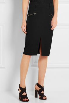 Black viscose, cotton and elastane-blend  Concealed zip fastening along back 57% viscose, 41% cotton, 2% elastane; lining: 94% silk, 6% elastane Dry clean Made in ItalyLarge to size. See Size & Fit notes.