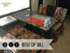 DIY Bottle Cap Table - Save up bottlecaps from your favorite beverages to create your own custom table.