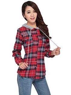 Beautifulmall-Womens-Long-Sleeves-Flannel-TarTan-Plaid-Hoodies-Shirts-Blouse-0