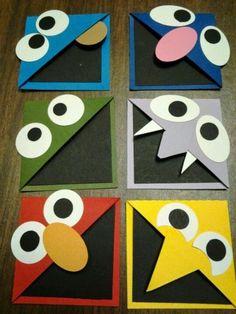 DIY Corner Bookmarks for Kids - Caarton Bookmark Craft, Corner Bookmarks, Bookmarks Kids, Handmade Bookmarks, Origami Bookmark Corner, Projects For Kids, Diy For Kids, Craft Projects, Crafts For Kids