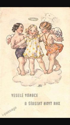 Fischerova Kvechova Angels with Girl on Cloud Postcard Winter Christmas, Christmas Cards, Christmas Graphics, Jingle Bells, Clouds, Drawing, Retro, Artist, Prints
