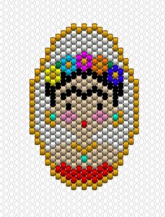 Frida Kahlo brickstitch weaving with Miyuki Delicas pearl motif Loom Bracelet Patterns, Bead Loom Patterns, Peyote Patterns, Beading Patterns, Color Patterns, Embroidery Designs, Bead Embroidery Patterns, Beaded Embroidery, Loom Bands