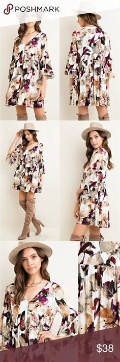 Boho floral shift dress vintage tunic hippie style 3/4 bell sleeves, fully lined, non-sheer, woven, 100% rayon, 95% polyester, 5% spandex. Dresses Mini