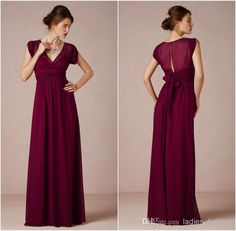 Wholesale Bridesmaid Dress - Buy Modern Vogue A-Line Bridesmaid Dress V-Neck Cap Sleeves With Zipper Back Chiffon Floor Length Sleeveless Custom Made Low Price Retail Hot, $95.0   DHgate other colors