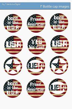 """Free Bottle Cap Images: USA Patriotic 1"""" digital bottle cap images"""
