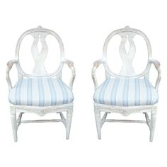 A Pair of Swedish High Gustavian Armchairs   From a unique collection of antique and modern armchairs at https://www.1stdibs.com/furniture/seating/armchairs/