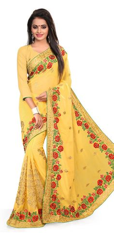 This #saree is blended from #georgette and is engaged with same colored georgette #blouse. The special embroidery decoration at the borders of the saree is done to flaunt the beauty.