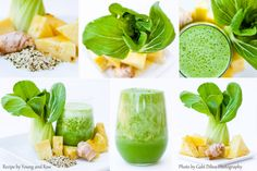 Day 19: Baby Bok Choy Smoothie 1 cup fresh or frozen pineapple 1 head baby bok choy 1-inch piece ginger root 1 tbsp hemp or chia Seeds 1 cup water or coconut water