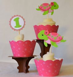 Girl Turtle Under the Sea Theme Birthday Banner, Baby Shower Party Decoration- 12 Cupcake Toppers