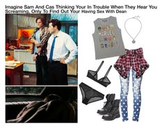 """Imagine Sam And Cas Thinking Your In Trouble When They Hear You Screaming, Only To Find  Out Your Having Sex With Dean"" by alyssaclair-winchester ❤ liked on Polyvore featuring Forever 21, Scotch & Soda, Marvel, Steve Madden, imagine, supernatural, castiel, samwinchester and DeanWinchester"