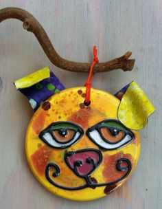 Silly Dog Ceramic and Fabric Ornament by thepeculiarpalette, $17.00
