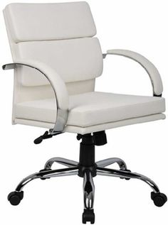 Boss Aaria Mid Back CaressoftPlus™ White Office Chair [B9406]
