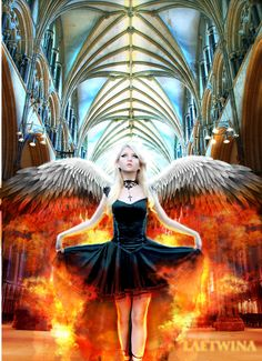 meet Heaven and Hell My Demons, Angels And Demons, Fallen Angels, Dark Gothic, Gothic Art, Emo Art, Beautiful Dark Art, Angels Among Us, Heaven And Hell
